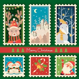 Fantastic christmas postzegels collectie sjabloonontwerp
