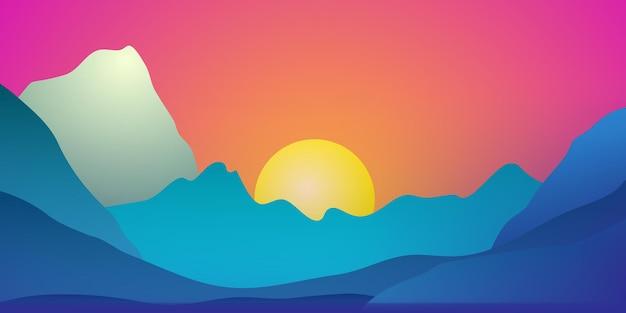 Fantastisch landschap met bergen en ondergaande zon