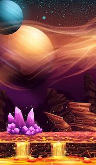 Fantastisch landschap van rode planeet met paarse kristallen