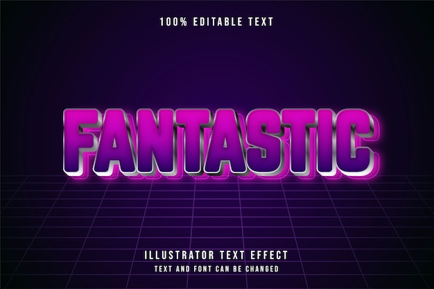 Fantastische, 3d bewerkbare teksteffect roze gradatie paarse futuristische effectstijl
