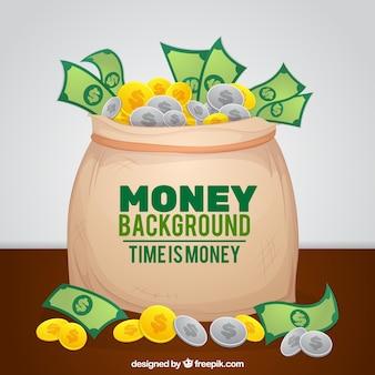 Fantastische achtergrond met een zak vol munten en bankbiljetten