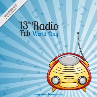 Fantastische achtergrond met radio en muzieknoten in plat design