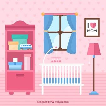 Fantastische babykamer met witte wieg