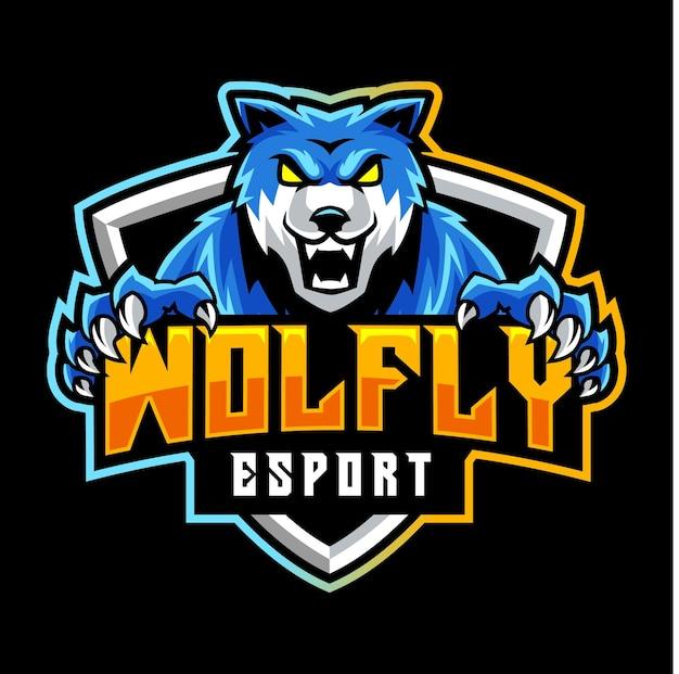 Fantastische blauwe wolf, mascotte logo
