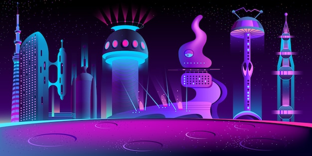 Fantastische buitenaardse stad