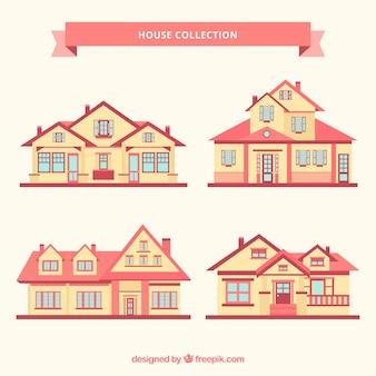 Fantastische collectie van vier herenhuizen in plat design