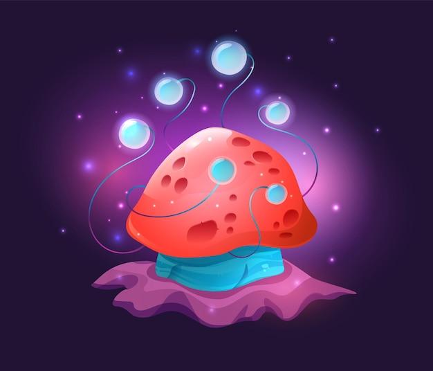 Fantastische concept cartoon magische gloeiende rode paddestoel met blauwe tentakels voor conceptontwerp