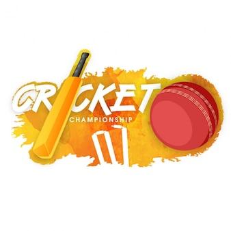Fantastische cricket achtergrond met bal en wicket
