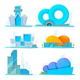 Fantastische gebouwen toekomst. tekenfilm
