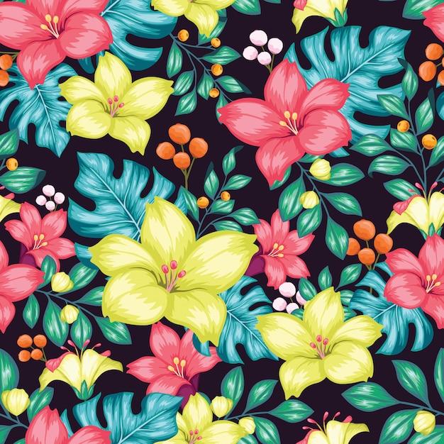 Fantastische kleurrijke bloemen naadloos