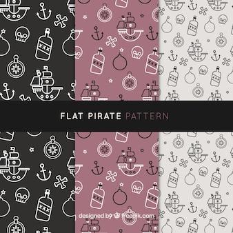 Fantastische piratenpatronen met platte elementen