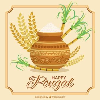 Fantastische pongal achtergrond met rijst en suikerriet