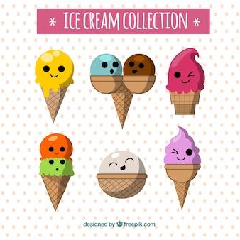 Fantastische selectie van zes ijskarakters