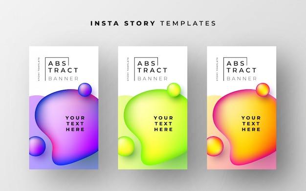 Fantastische sjablonen met instagramovertellingen met abstracte vloeibare vormen