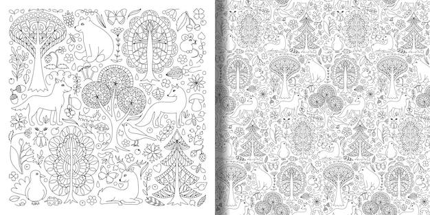 Fantastische sprookjesachtige bosdieren en planten set en naadloos patroon prints van bos