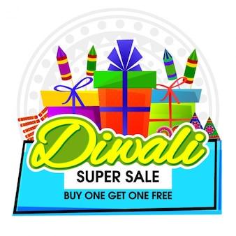 Fantastische verkoop achtergrond met decoratieve artikelen voor diwali