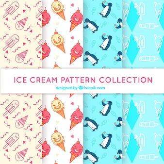 Fantastische verzameling patronen met ijsjes en karakters