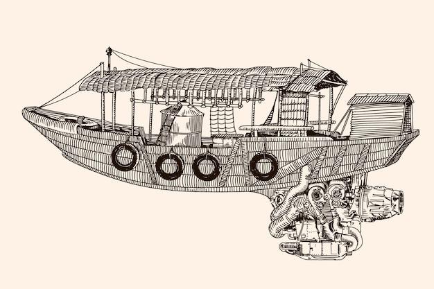 Fantastische vliegende houten boot in chinese stijl met straalmotor. lineaire schets op een beige achtergrond.