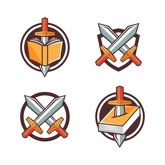 Fantasy game-logo zwaard en boek symbool cartoon stijl