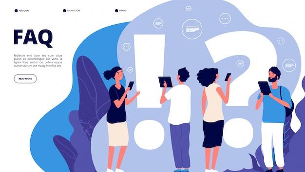 Faq bestemmingspagina. verwarring mensen stellen vaak vragen, krijgen antwoord. vragende personen, probleemoplossing nuttige quiz vector concept