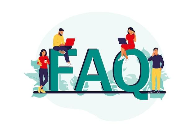Faq. veel gestelde vragen concept. mensen stellen vragen en krijgen antwoorden. ondersteuning's centrum.