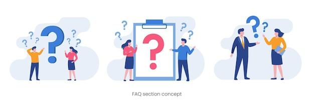Faq vraag concept, klantenondersteuning, platte vectorillustratie.