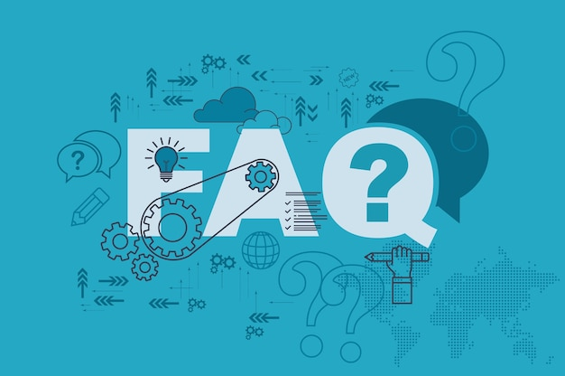 Faq-websitebannerconcept met dun lijn vlak ontwerp