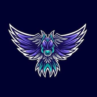 Farao blue phoenix logo mascot illustrator
