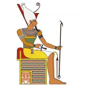 Farao, geïsoleerde figuur van de oude farao van egypte