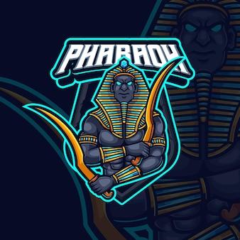 Farao mascotte esport gaming logo ontwerp