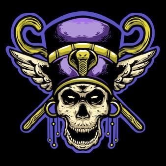 Farao schedelhelm en gouden stokkop mascotte logo Premium Vector