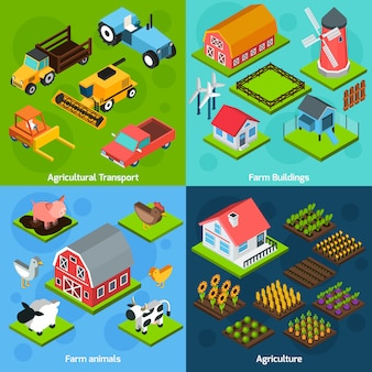 Farm 4 isometrische vierkante iconen coposition