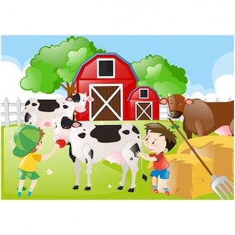 Farm achtergrond ontwerp