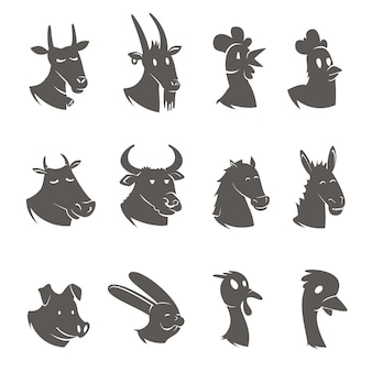 Farm animals heads black icons set