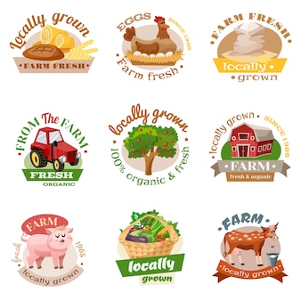 Farm flat emblem set