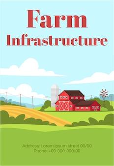 Farm infrastructuur poster sjabloon