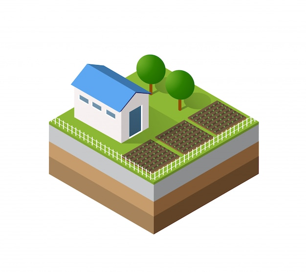 Farm isometrische driedimensionaal