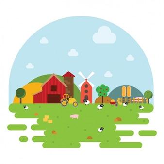 Farm landschap achtergrond