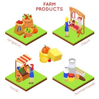 Farm lokale markt isometrische illustratie met composities van menselijke karakters en tekst van voedselafbeeldingen