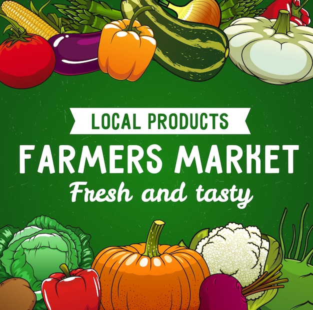 Farm market poster Premium Vector