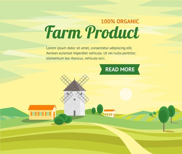 Farm prouct banner op landelijk landschap met traditionele oude windmolen. platte ontwerpstijl.