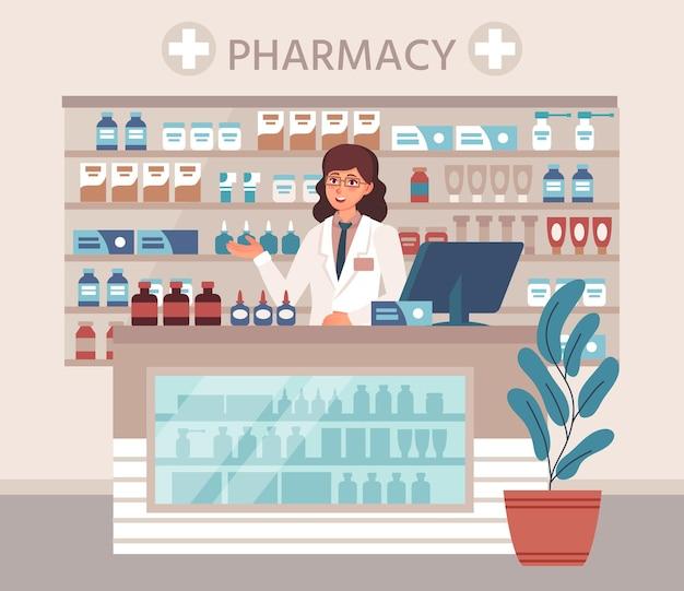 Farmaceutisch adviseur achter toonbank in drogisterij, planken met medicatie