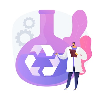 Farmaceutisch onderzoek. chemische vloeistofanalyse, laboratoriumtesten, bio-medicijnanalyse. vloeistof in recyclingglaswerk. laboratorium werknemer stripfiguur.