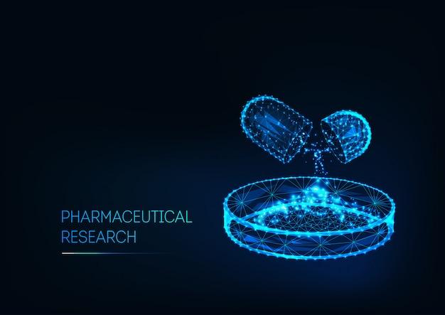 Farmaceutisch onderzoekconcept met geneeskundepil en petrischaal en tekst geïsoleerd op donkerblauw.