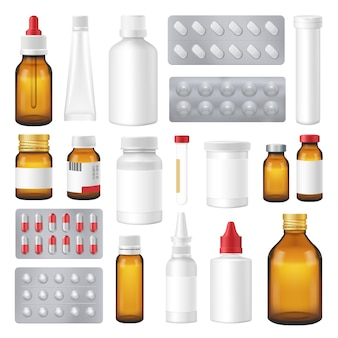 Farmaceutische flessen pakketten pillen realistische set
