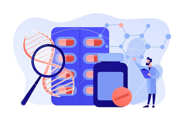 Farmaceutische geneesmiddelen vervaardigd uit biologische bronnen. biofarmacologieproducten, biologisch medisch product, natuurlijk apotheekconcept. roze koraal bluevector vector geïsoleerde illustratie
