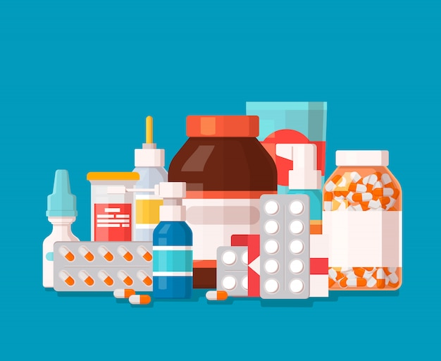 Farmaceutische illustratie van medische flessen en pillen op blauwe achtergrond