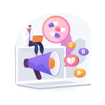 Farmaceutische marketing abstract concept vectorillustratie. farmaceutisch digitaal bureau, marketingstrategie voor medicijnen, reclame voor geneesmiddelen, markt voor medische apparatuur, abstracte metafoor voor promotie.