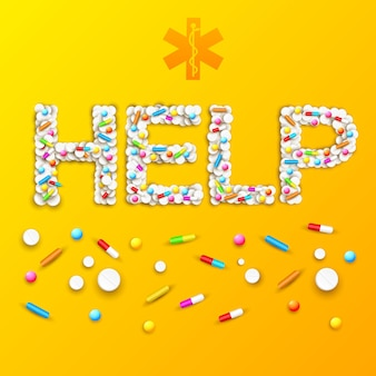 Farmaceutische medische poster met pillen en medicijnen in de vorm van help-woord op oranje