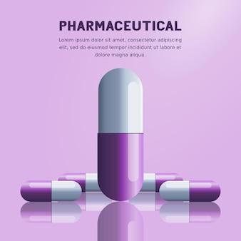 Farmaceutische pillencapsule met medisch en gezondheidsconcept